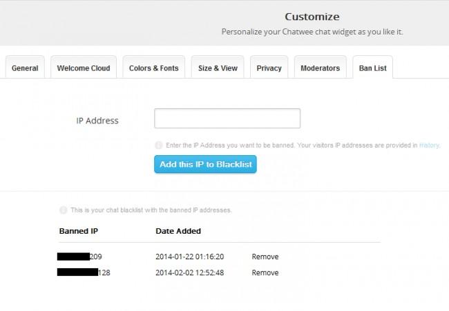 Chat widget blacklist
