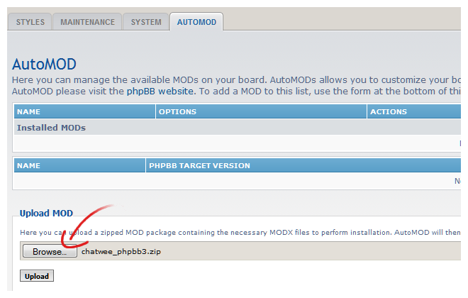 chat mod for phpbb3 upload