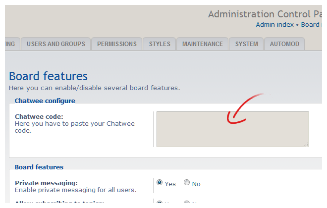 install chat in phpbb code