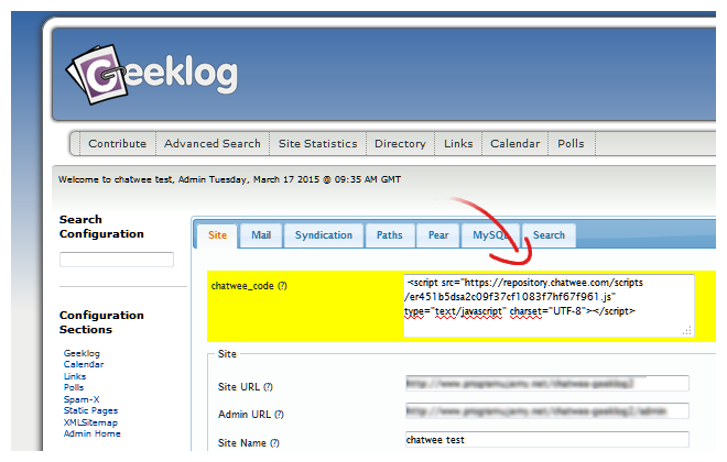 Add Chat Code Geeklog