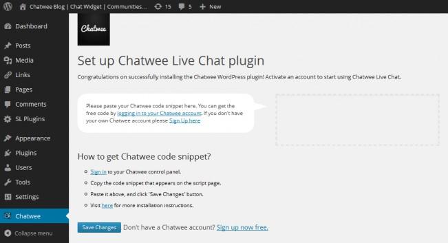 live chat widget for wordpress install