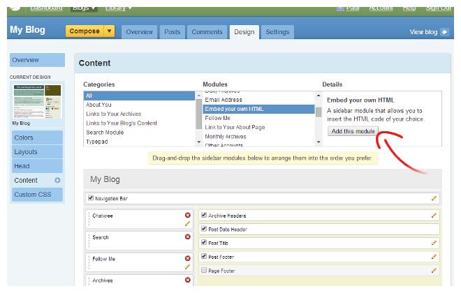 Typepad embed html chat module