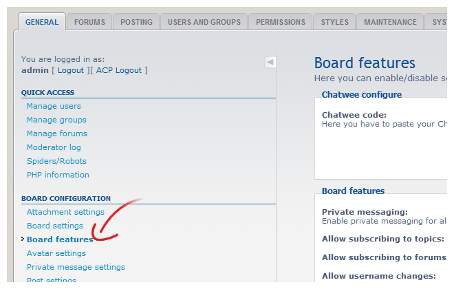 phpBB shoutbox board features