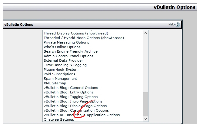 vBulletin Chat Plugin Settings