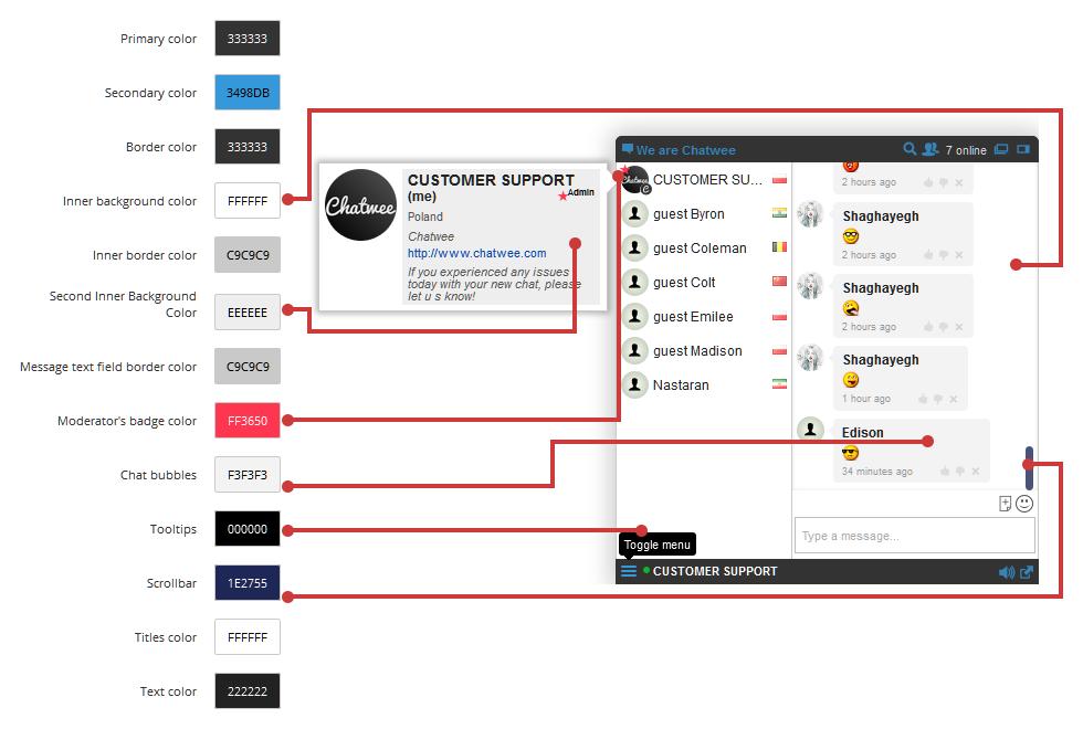 Chat Widget Customize Colors Scheme