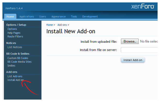 XenForo Install Addon