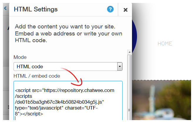 Install Chat Code to Wix