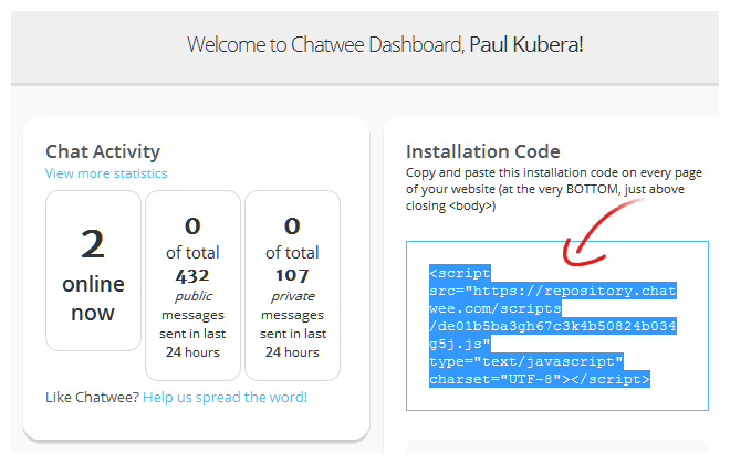 Live Chat Code for Wix